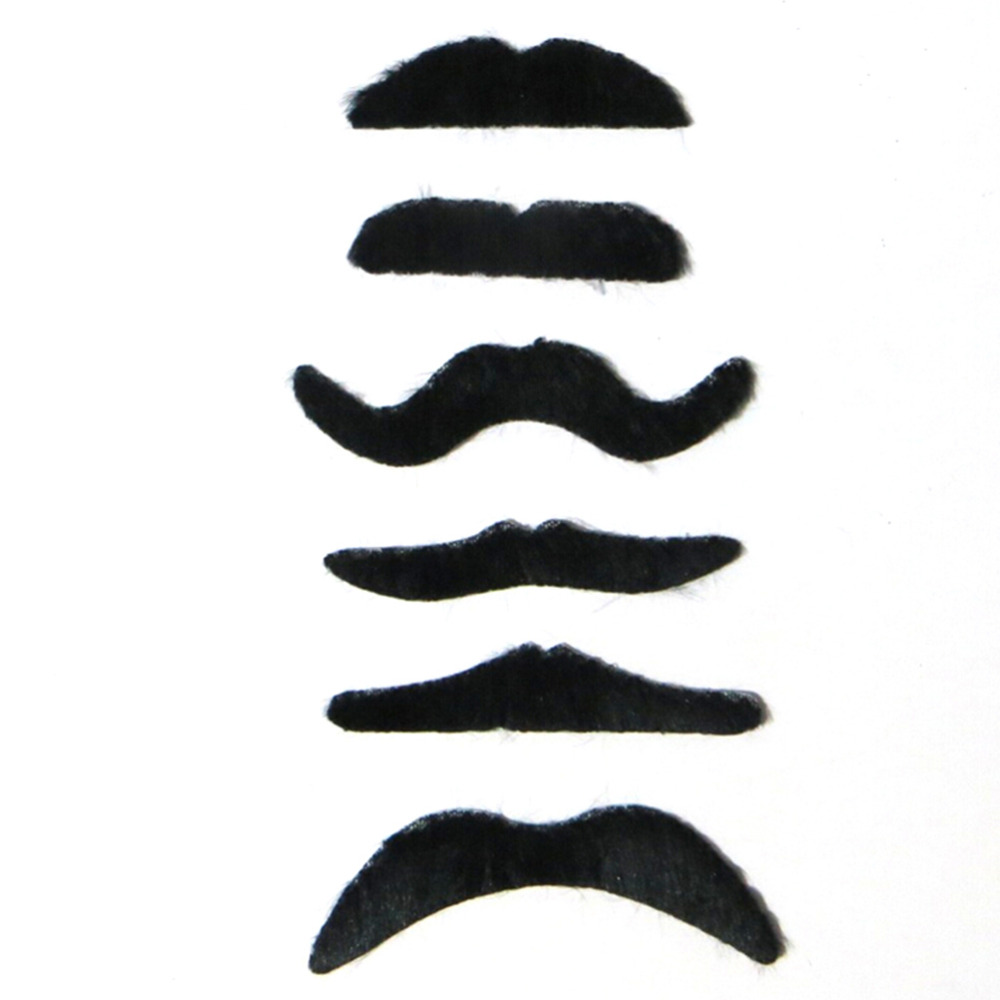 6PCS/Set Black Costume Party Halloween Fake Mustache Moustache Funny Fake Beard Whisker