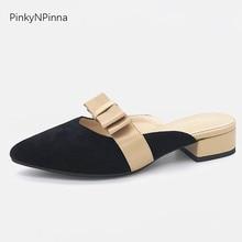 купить ladies slides fashion mules genuine leather sheepskin butterfly knot slip on chunky low heels women cute shoes for summer party по цене 1467.09 рублей