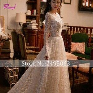 Image 4 - Fmogl Vestido de Noiva Sexy V neck Backless A Line Wedding Dress 2020 Gorgeous Voile Court Train Princess Bridal Gown Plus Size