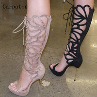 Women Gladiator Brogue Lace Up Knee High Boots Open Toe Summer Sandals Cut Out Leather Roman