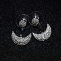 2016 New Fashion Top Quality Platinum Plated Micro Pave Cubic Zircon Small Moon APM Monaco Stud Earring  Fashion Jewelry