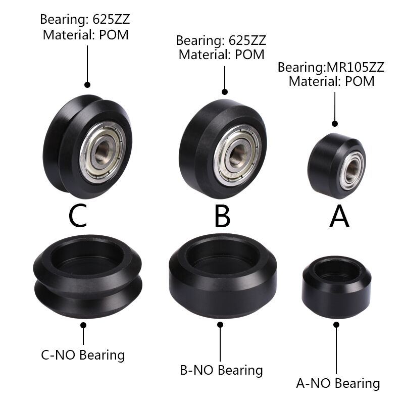 Openbuilds POM Wheel C-beam V-slot POM Polycarbonate Bearing Passive Round Wheel Idler Pulley Gear Perlin Wheel