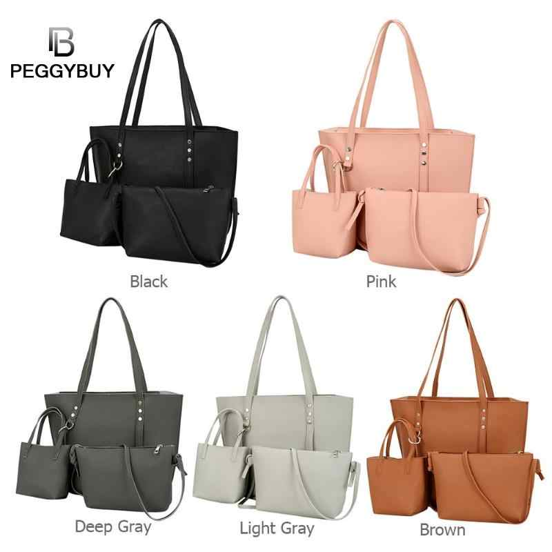 3 pçs/set Cor Sólida Rebite Composto Sacos de Mulheres PU Bolsas de Ombro De Couro Crossbody Mensageiro Top-handle Bags Totes Bolsa