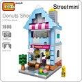 Idéias china loja de varejo loz mini blocos de donuts shop série cidade rua modelo sorvete arquitetura blocos de construção de brinquedos 1606