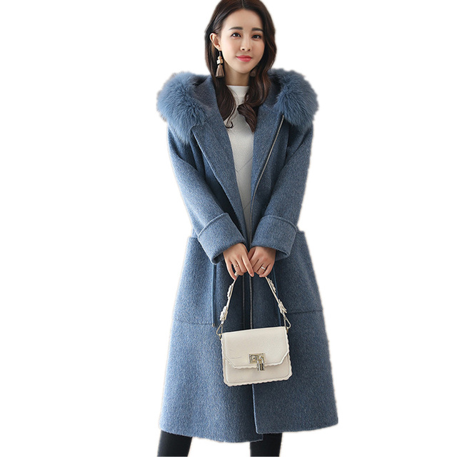 NEW Winter Wool Coat Women Fashion Adjustable Waist Long Parka Overcoat Manteau Femme Hooded Fur Collar Woolen Coat Jacket C3823