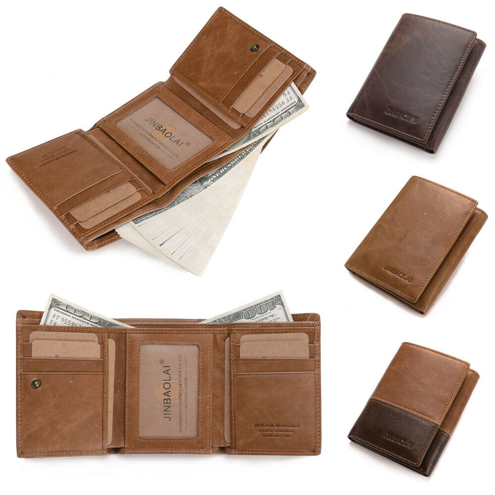 Retro Men's Fashion Leather Wallet Insert Multi Card Holder Clutch Pocket Purse Credit ID Tri-fold Wallet