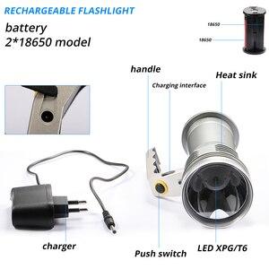 Image 3 - 8000LM LED זרקור פנס ארוך טווח בחוץ פנס נטענת עוצמה חיפוש הבזק אור לפיד עם 18650 סוללה