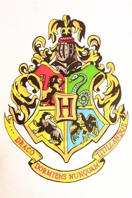 benutzerdefinierte leinwand kunst harry potter poster harry potter wandaufkleber hogwarts logo. Black Bedroom Furniture Sets. Home Design Ideas