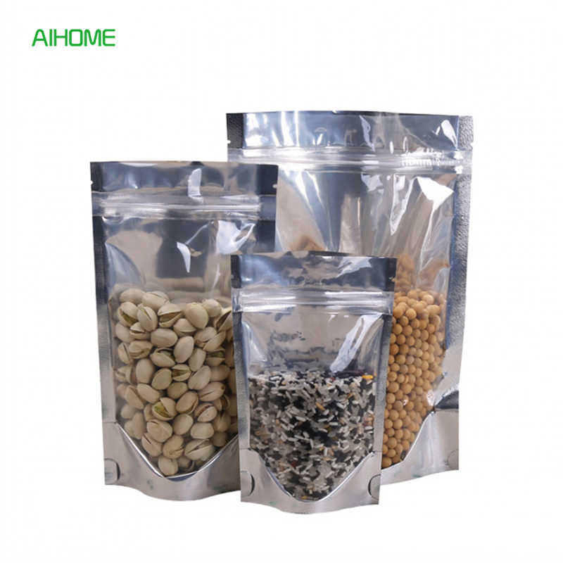 10/20pcs FDA Grade Clear Aluminum Foil Pouches Stand Up Food Stoarge Bags Resealable ZipLock Bag Food Packaging