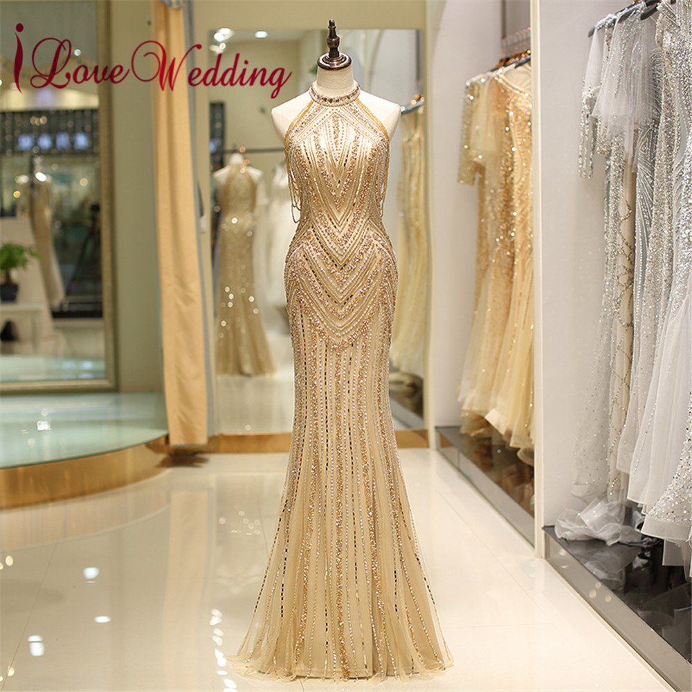 Luxurious Halter Beaded Gold Evening Gown Custom made Sleeveless Mermaid Floor Length Sexy Evening Dresses Long