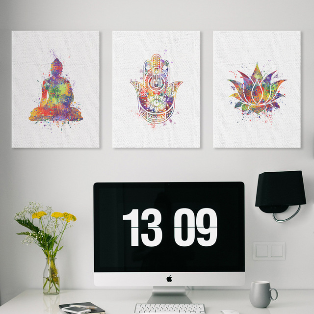 Lotus Flower Wall Art aliexpress : buy instant digital watercolor print buddha hamsa