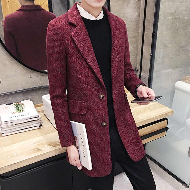 Autumn winter 2016 new fashion Korean Slim woolen coat men's Solid color British style all-match trend coat long windbreaker