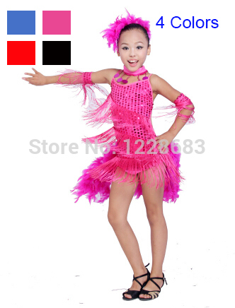 New Feather Sequin Fringe Cocktail Latin Salsa Dresses Children Kids Girls Dance Costumes Salsa Dance Dresses