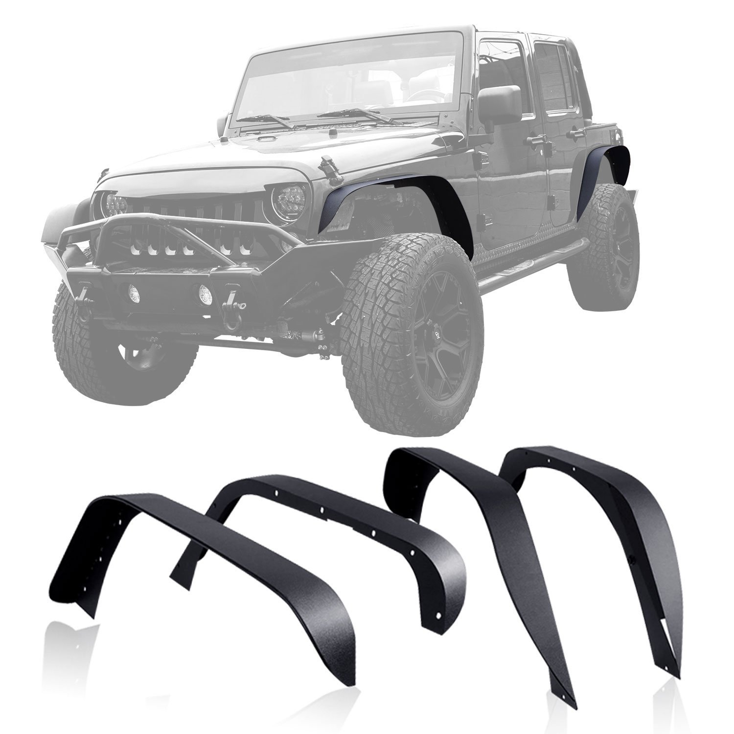 Set  J064 Tuxtured Steel Flat Style Fender Flares 2007-2017 For Jeep Wrangler JK Unlimited Auto Products Lantsun