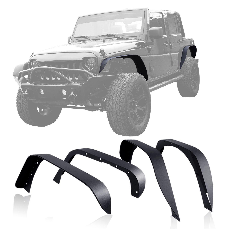 Set J064 Tuxtured Steel Flat Style Fender Flares 2007-2017 for Jeep Wrangler JK Unlimited auto products Lantsun fender squier jim root telecaster flat white