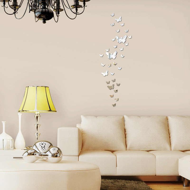 Распродажа 30 шт./компл. Бабочка 3D Зеркальная Наклейка на стену гостиная спальня наклейки на фальшпанели домашние виниловые наклейки DIY украшения
