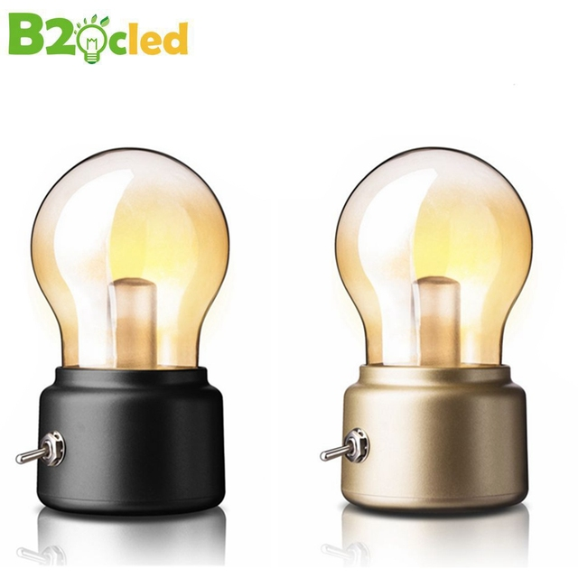 Retro Usb Bulb Lamp Oplaadbare Batterij Opladen Bureaulamp