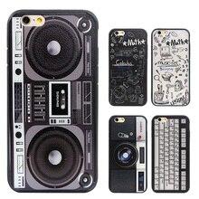 Graffiti Retro camera tape Consoles Calculator Keyboard pattern Printed Back Cover coque Case for iphone 6 6S Plus 4.7 5.5
