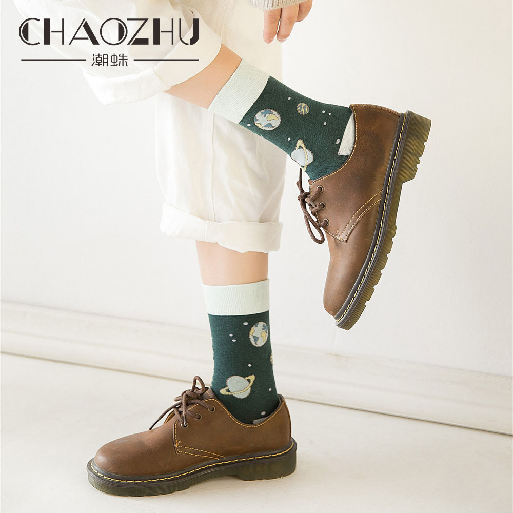 CHAOZHU Invincible Beauty Girl Cute Chic Puss Cotton Pink Purple Cartoon Planet New   Socks   Autumn Winter Kawai Super   Socks   Lady