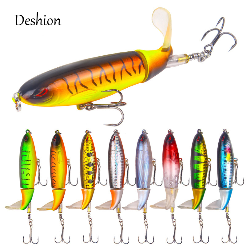 Deshion Whopper Plopper 1PC 10cm 13g Topwater Hard Fishing Lure with Rotating Tail Quality Artificial Bait Reinforced Hooks
