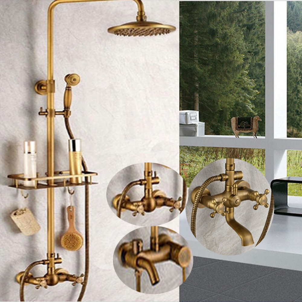 Uythner Wholesale And Retail Promotion Antique Brass 8 Rainfall Shower Faucet Mixer Tap Wall Mount wholesale and retail wall mounted thermostatic valve mixer tap shower faucet 8 sprayer hand shower