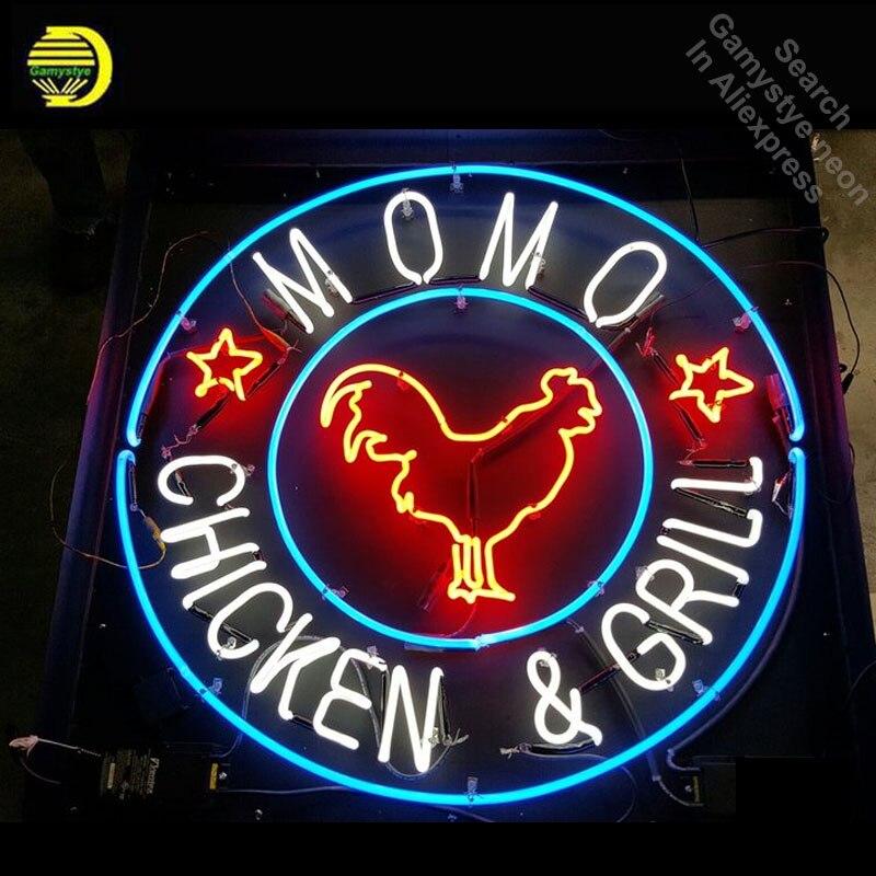 Enseigne au néon pour Momo poulet dans Bethesda néon ampoules signe gril magasin affichage à la main tube de verre néon lumières à vendre Bar Pub lumière