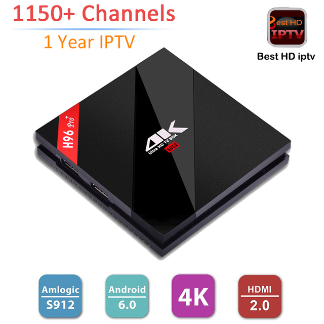 S912 H96 Pro + Android Tv Box Amlogic 3 GB 32 GB Android 6.0 Inteligente Caja de la Tv WiFi Bluetooth 4.1 4 K 2 K 1150 + Canales 1 Año Europa IPTV