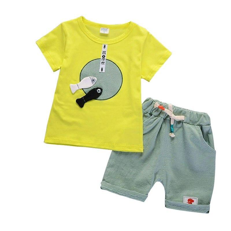 Летние для маленьких мальчиков милый мультфильм рыбы шаблон футболка с короткими рукавами и шорты брюки комплект одежды 2 шт.