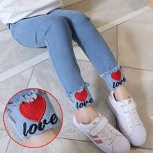 Джинсы для девочек; детские джинсы с милым рисунком Микки; сезон весна-осень; высококачественные детские штаны; повседневные брюки; джинсы для маленьких девочек
