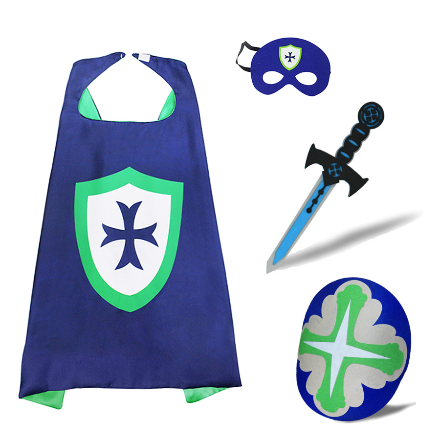 SPECIAL Knight Cape Costume For Boys Masquerade Felt Shield Warrior Costumes Church Activity Role Superhero Costume Play Game