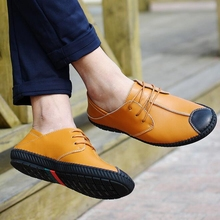 New Fashion Men Shoes British Genuine Leather Driving Shoes Comfortable Breathable Loafers Lace Up Casual Men Shoes P88