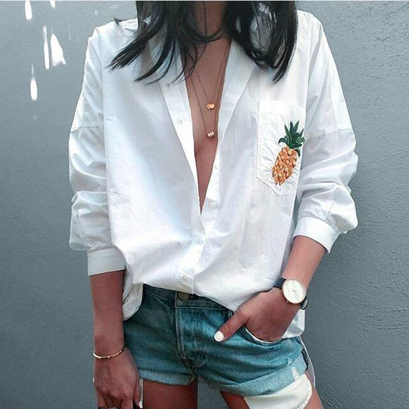 2018 Hot Sale New Fashion Women Sexy Ladies Long Sleeve Pineapple Embroidery V Neck White Tops Women Tops Clothing ...