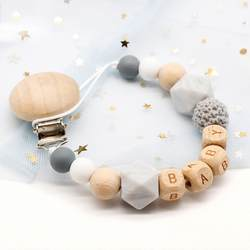Персональное имя ручной работы силиконовые цепи соски безопасный цепочка для прорезывания зубов Детские Прорезыватели Экологичные