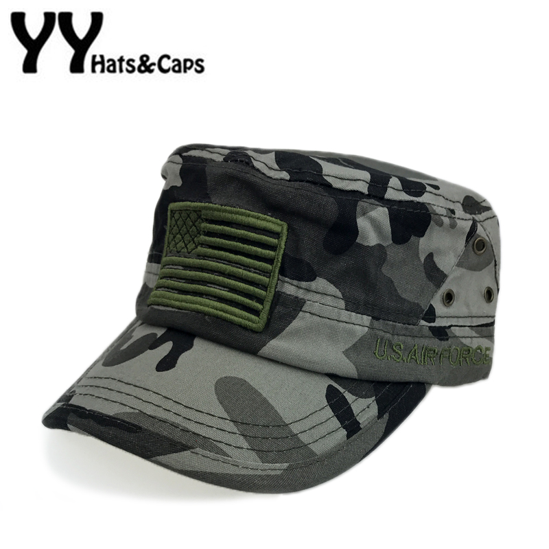 Flat Army Hat For Men Embroidery American Flag Military Hat Women Tactical  Snapback Camouflage Hat Chapeaux Militaire YY17200 567b958e373