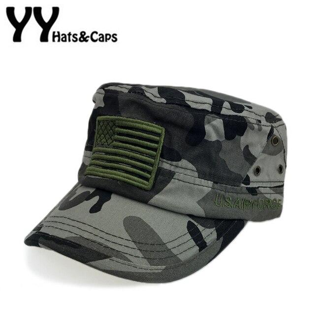 Sombrero del ejército plana para hombres Bordado bandera americana Militar  mujeres sombrero táctico del camuflaje del 872c350eaea