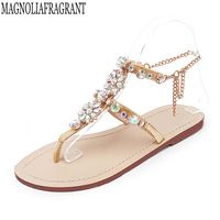 2018 Plus Size 46 Woman Sandals Women Shoes Rhinestones Chains Thong Gladiator Flat Sandals Crystal flip flops tenis feminino k5