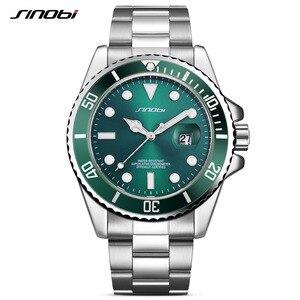 Image 4 - SINOBI שעון גברים 2020 מקרית שעונים תאריך נירוסטה בנד יוקרה שעון ספורט שעונים זהב Relogio Masculino