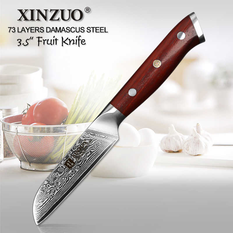 "XINZUO 3.5"" inch Peeling Knife 73 Layers Japanese vg10 Damascus Stainless Steel Kitchen Knife with Rosewood Handle Paring Knives"