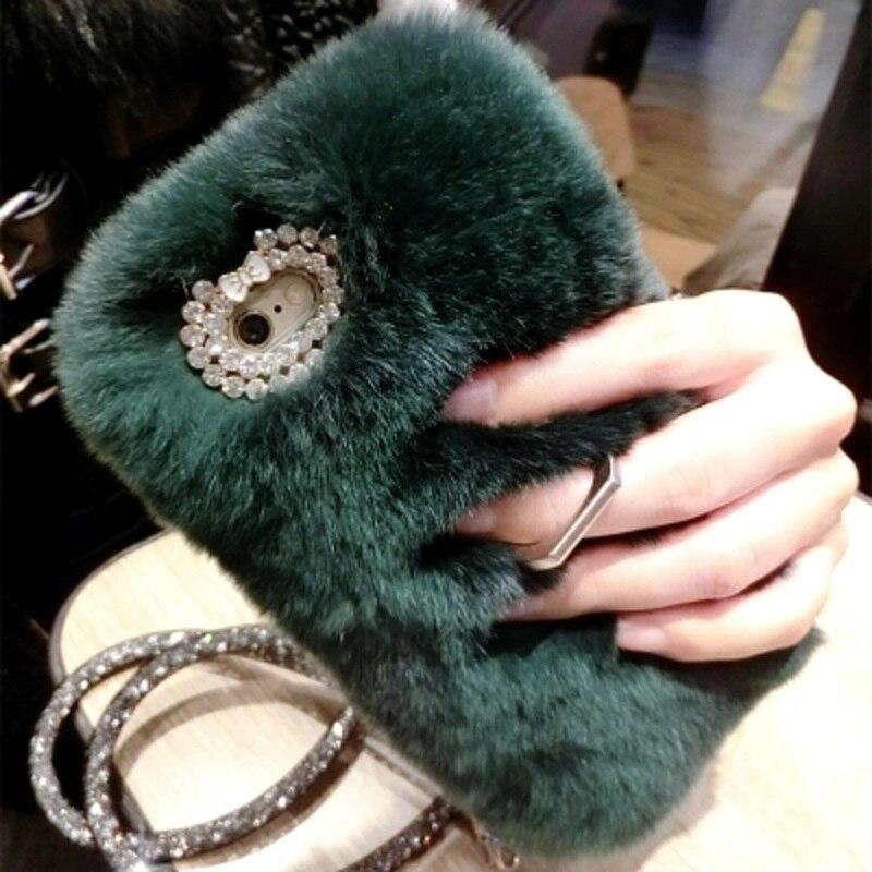 bilder für Ayeena Für Huawei P8 Lite Huawei P9 Lite Plus Echt Kaninchen haar Flauschige Smartphone Fall Fuzzy Haar Diamant Capa Fundas Ring Halter