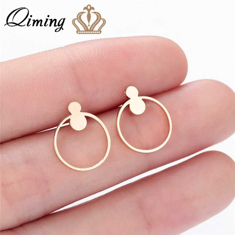 QIMING Stainless Steel Circle Stud Earrings Small Geometric Round Brincos Minimalist Ear Jewelry Femme Gold Simple Earrings Gift