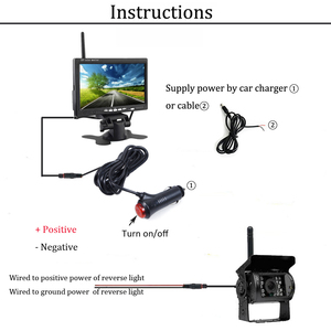 "Image 5 - Podofo 12V 24V kablosuz 7 ""HD TFT LCD araç yedekleme dikiz kamera monitörü + araba şarjı kamyonlar için otobüs RV römork ekskavatör"