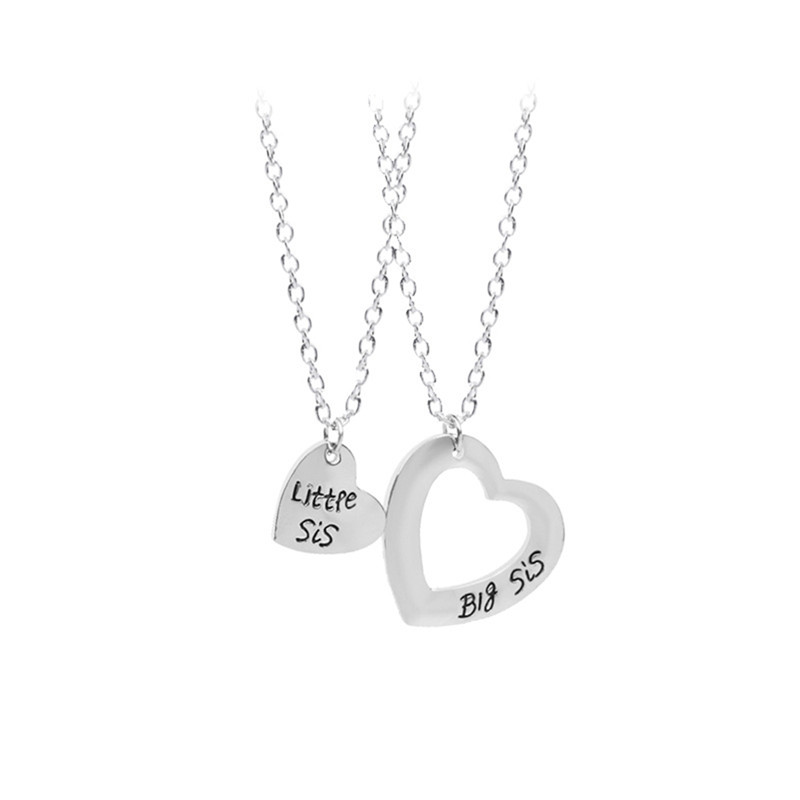 2Pieces Heart Shape Personalized Hand Stamped Big Sis Middle Sis Little Sis 2 Sister Necklace Family Jewelry Sisters Gift