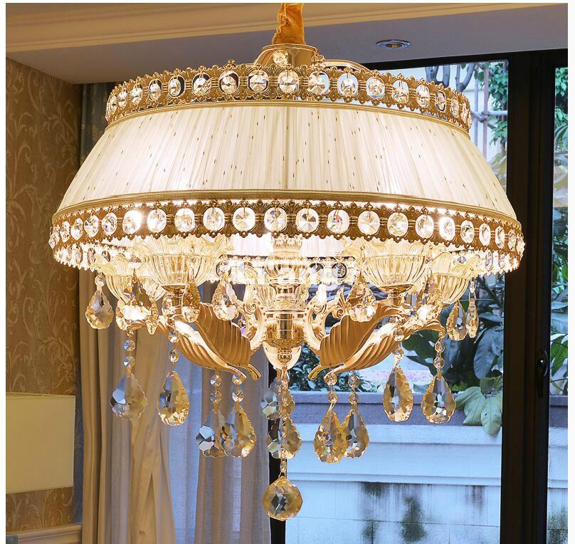 European Modern Ivory Crystal Chandelier Lighting Zinc Alloy Crystal Chandelier 5L D58cm Fabric Shade Design Crystal Chandelier