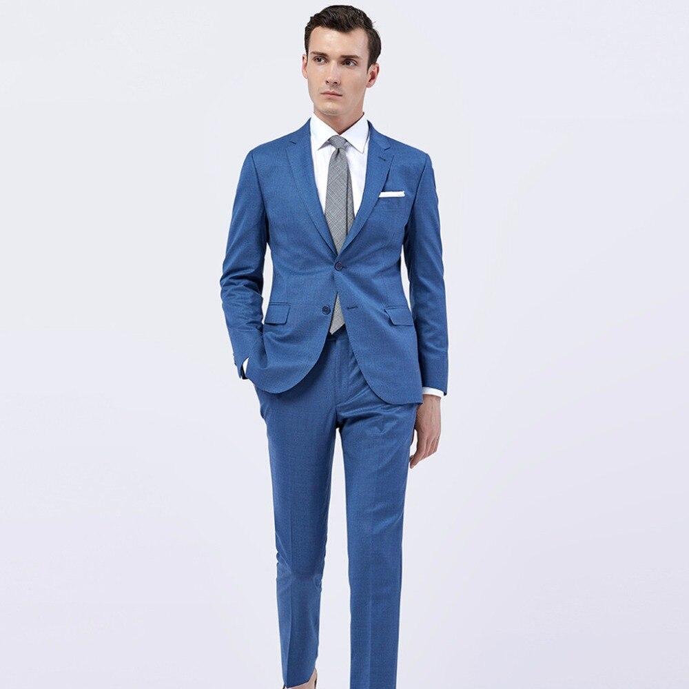 Custom Made Blue Wool Men Suit, Tailor Made Suit Bespoke Light Navy ...