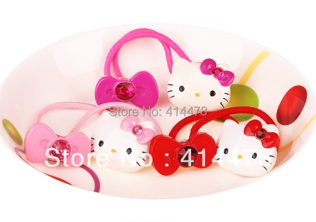Free Shipping,2013 New Arrival Fashion Wholesale Cartoon Cat+Bows Hair Ropes Accessaries Hair Bands Elastic Ties Ponytail Holder