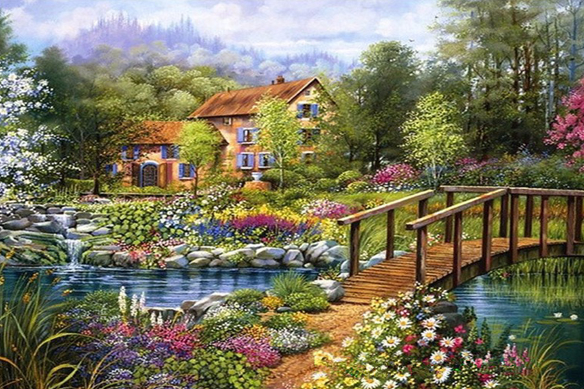 Cross Stitch Cottage Patterns Scenic Schilderen Diamond Painting Art Hobbies And Crafts Materials Dome Cross Stitch Craft Kit