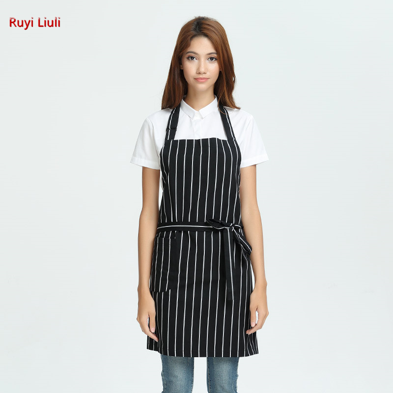 Stylish Striped Apron With Shoulder Straps, Crossed Neck, Bib Waist, Kitchen And Dining Room Smock, Anti-fouling Smock Unisex