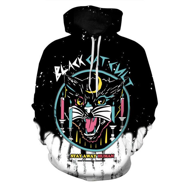 Alien Skull, Black Cat Weird Printed Hoodie