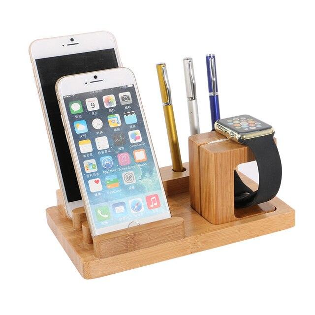Office Бамбука Мобильный Телефон Настольный Держатель для iPhone 6 6 S Plus для Apple Watch Подставка для Зарядки для Док-Станции