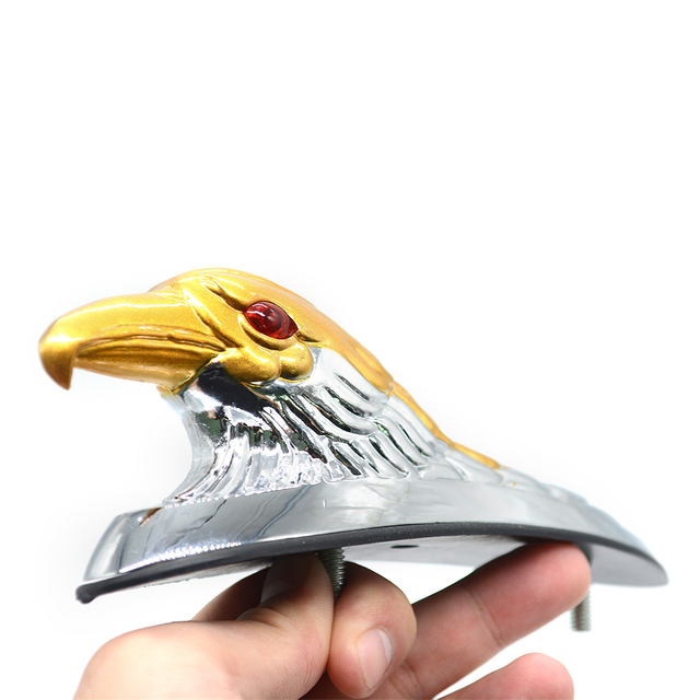 silver & Gold Motorcycle Eagle Head Fender Ornament with Red Lighted Eye Motorbike ATV Bike  Aluminum Front Mudguard Decoration